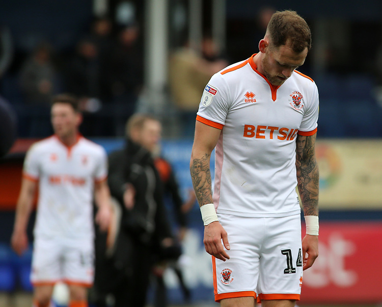 Blackpool's Harry Pritchard cuts a frustrated figure at full time<br /> <br /> Photographer David Shipman/CameraSport<br /> <br /> The EFL Sky Bet League One - Luton Town v Blackpool - Saturday 6th April 2019 - Kenilworth Road - Luton<br /> <br /> World Copyright © 2019 CameraSport. All rights reserved. 43 Linden Ave. Countesthorpe. Leicester. England. LE8 5PG - Tel: +44 (0) 116 277 4147 - admin@camerasport.com - www.camerasport.com