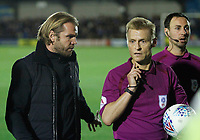 Milton Keynes Dons manager, Robbie Nelson has words with referee, Michael Jones during the Sky Bet League 1 match between AFC Wimbledon and MK Dons at the Cherry Red Records Stadium, Kingston, England on 22 September 2017. Photo by Carlton Myrie / PRiME Media Images.