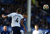 9th September 2017, Goodison Park, Liverpool, England; EPL Premier League Football, Everton versus Tottenham; Toby Alderweireld of Tottenham and Dominic Calvert-Lewin of Everton compete for a header