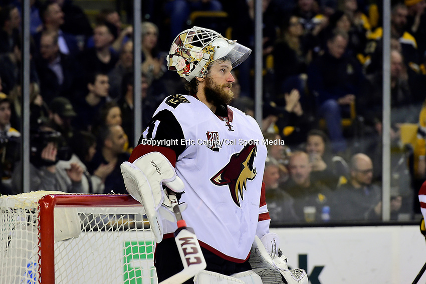 Tuesday, February 28, 2017: Arizona Coyotes goalie Mike Smith (41) waits for action to resume during the National Hockey League game between the Arizona Coyotes and the Boston Bruins held at TD Garden, in Boston, Mass. Boston defeats Arizona 4-1. Eric Canha/CSM