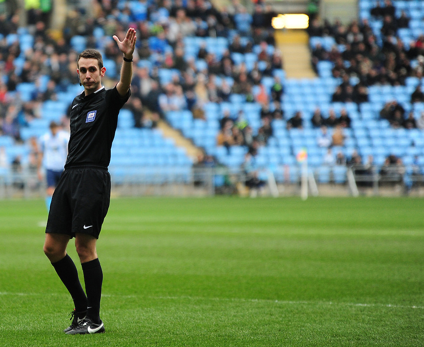 Referee David Coote<br /> <br /> Photographer Andrew Vaughan/CameraSport<br /> <br /> Football - The Football League Sky Bet League One - Coventry City v Fleetwood Town - Saturday 27th February 2016 - Ricoh Stadium - Coventry   <br /> <br /> &copy; CameraSport - 43 Linden Ave. Countesthorpe. Leicester. England. LE8 5PG - Tel: +44 (0) 116 277 4147 - admin@camerasport.com - www.camerasport.com
