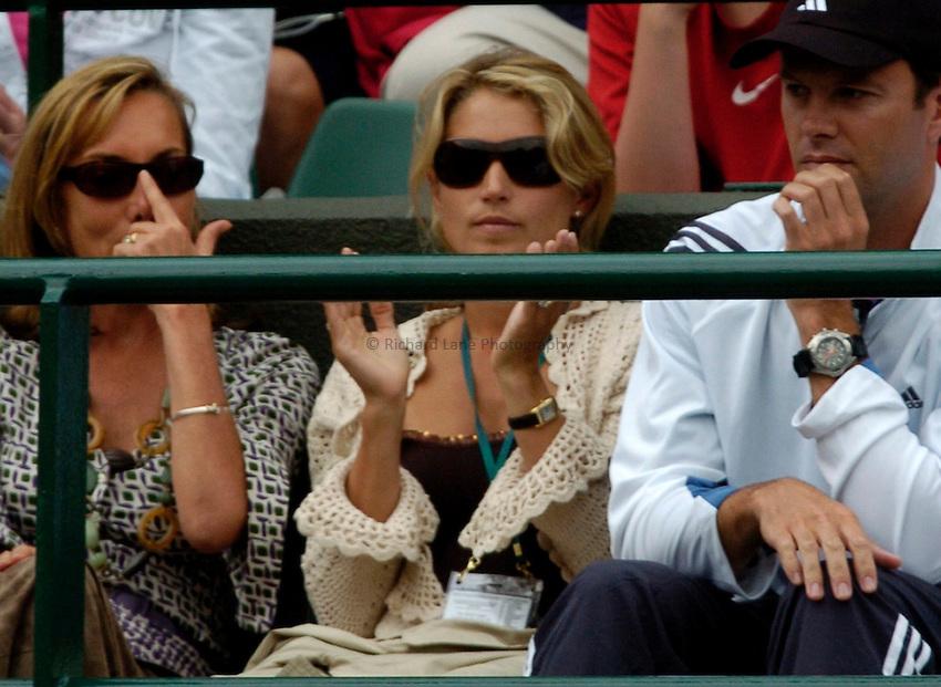 Photo: Richard Lane..Wimbledon Championships. 27/06/2006. .Lucy Henman (c) watches her husband, Tim Henman.