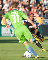 Scott Sealy of the Earthquakes in action during the game against the Sounders at Buck Shaw Stadium in Santa Clara, California on July 31st, 2010.   Seattle Sounders defeated San Jose Earthquakes, 1-0.