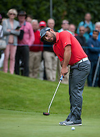 23.05.2015. Wentworth, England. BMW PGA Golf Championship. Round 3.  Francesco Molinari [ITA] putts on the 4th green, during the third round of the 2015 BMW PGA Championship from The West Course Wentworth Golf Club