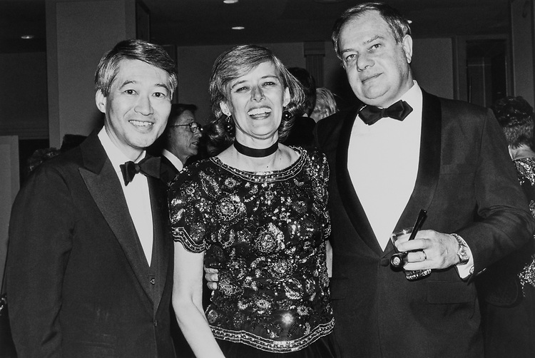 Rep. Patricia Schroeder, D-Colo., Rep. Bob Matsui, D-Calif., and husband Jim Schroeder at Peace Links Gala on Dec. 13, 1990. (Photo by Laura Patterson/CQ Roll Call)