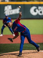 Ulfrido Garcia, pitcher inicial de los los Alazanes de Gamma de Cuba hace lanzamientos de la pelota en el primer inning durante el partido de beisbol de la Serie del Caribe contra los Criollos de Caguas de Puerto Rico en estadio de los Charros de Jalisco en Guadalajara, M&eacute;xico, Martes 6 feb 2018. <br /> (Foto: /Luis Gutierrez)