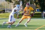 Rancho Santa Margarita, CA 04/30/10 - Chris Charter (Torrey Pines #16) and Connor Ebner (Santa Margarita #33) in action during the Rancho Santa Margarita CHS-Torrey Pines boys varsity lacrosse game.