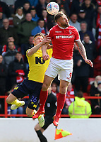 Nottingham Forest's Daryl Murphy heads away from Blackburn Rovers' Darragh Lenihan<br /> <br /> Photographer David Shipman/CameraSport<br /> <br /> The EFL Sky Bet Championship - Nottingham Forest v Blackburn Rovers - Saturday 13th April 2019 - The City Ground - Nottingham<br /> <br /> World Copyright © 2019 CameraSport. All rights reserved. 43 Linden Ave. Countesthorpe. Leicester. England. LE8 5PG - Tel: +44 (0) 116 277 4147 - admin@camerasport.com - www.camerasport.com