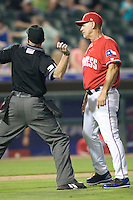 Manager Bobby Jones #31 of the Round Rock Express is ejected from the game against the Oklahoma City RedHawks on April 26, 2011 at the Dell Diamond in Round Rock, Texas. (Photo by Andrew Woolley / Four Seam Images)