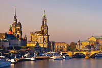 Hofkirche (Dresden Cathedral) and the Elbe River, Dresden, Saxony, Germany