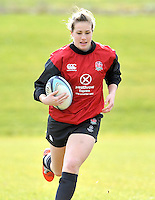 Guildford, England. Emily Scarratt of England Women's Sevens in training for Sevens World Series in round three in Atlanta, USA. Surrey Sports Park on March 5, 2015 in Guildford, England.