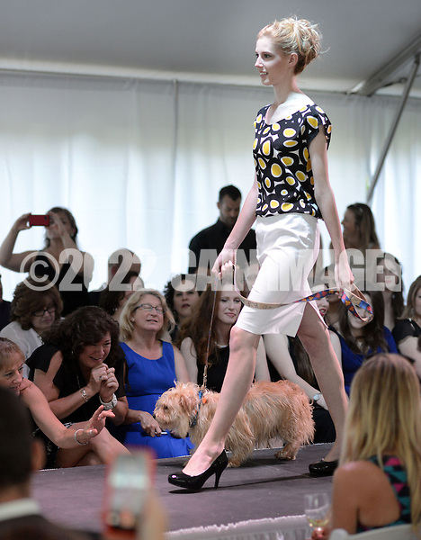 DOYLESTOWN, PA - JUNE 06: A model walks the runway with Shaggy the dog during the Canines on the Catwalk fashion show June 6, 2014 at the Michener Museum in Doylestown, Pennsylvania. Canines on the Catwalk is a fashion show coupling professional models, high-end clothes and dogs. The program benefits animal rescue  (Photo by William Thomas Cain/Cain Images)
