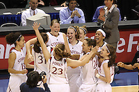10 March 2008: Stanford Cardinal (not in order) Cissy Pierce, Morgan Clyburn, Jayne Appel, Kayla Pedersen, JJ Hones, Rosalyn Gold-Onwude, Hannah Donaghe, Ashley Cimino, and Jeanette Pohlen during Stanford's 56-35 win against the California Golden Bears in the 2008 State Farm Pac-10 Women's Basketball championship game at HP Pavilion in San Jose, CA.