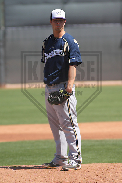 GOODYEAR - March 2013: Tyler Thornburg  of the Milwaukee Brewers during a Spring Training against the Cincinnati Reds on March 25, 2013 at the Reds Minor League Complex in Goodyear, Arizona.  (Photo by Brad Krause). .