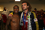 22 November 2009: Salt Lake's Robbie Findlay (left) and Kyle Beckerman (right) during the postgame locker room celebration. Real Salt Lake defeated the Los Angeles Galaxy 5-4 on penalty kicks after the teams played to a 1-1 overtime tie at Qwest Field in Seattle, Washington in MLS Cup 2009, Major League Soccer's championship game.