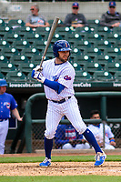Iowa Cubs outfielder Johnny Field (1) at bat during a Pacific Coast League game against the San Antonio Missions on May 2, 2019 at Principal Park in Des Moines, Iowa. Iowa defeated San Antonio 8-6. (Brad Krause/Four Seam Images)