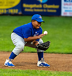 NAUGATUCK , CT-073120JS10—Union City Blue Jays' Silas Smalls (8) tries to recover after a ground ball took a bad hop during their Little League game against the Peter J. Foley Cardinals at Peter J. Foley field in Naugatuck on Friday. <br /> Jim Shannon Republican-American