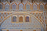 Arabesque Mudjar plasterwork of the 12th century Salón de Embajadores (Ambassadors' Hall or Throne Room). Alcazar of Seville, Seville, Spain