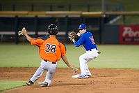 AZL Cubs second baseman Carlos Sepulveda (16) attempts to turn a double play against the AZL Giants on September 6, 2017 at Sloan Park in Mesa, Arizona. AZL Giants defeated the AZL Cubs 6-5 to even up the Arizona League Championship Series at one game a piece. (Zachary Lucy/Four Seam Images)