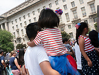 Groups gather to watch the 4th of July parade on Constitution Avenue in Washington D.C. on July 4, 2019. Photo Credit: Stefani Reynolds/CNP/AdMedia