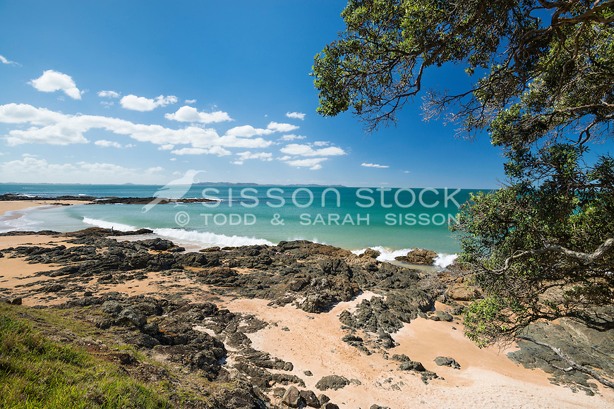 Beach at Cable Bay, Northland, New Zealand - stock photo, canvas, fine art print