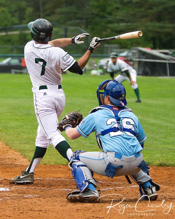 Thomas Roulis (Dartmouth C) at bat. Laconia catcher  Carter White (U Memphis