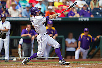 Louisiana State outfielder Raph Rhymes (4) swings the bat against the North Carolina Tar Heels during Game 7 of the 2013 Men's College World Series on June 18, 2013 at TD Ameritrade Park in Omaha, Nebraska. The Tar Heels defeated the Tigers 4-2, eliminating LSU from the tournament. (Andrew Woolley/Four Seam Images)