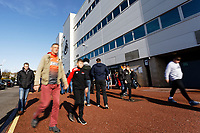 Swansea fans walk outside the stadium prior to the Sky Bet Championship match between Swansea City and Cardiff City at the Liberty Stadium, Swansea, Wales, UK. Sunday 27 October 2019
