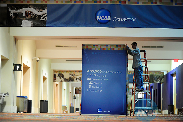 11 JAN 2011: Signage and registration at the 2011 NCAA Convention held at the Grand Hyatt and Convention Center in San Antonio, TX. Stephen Nowland/NCAA Photos .