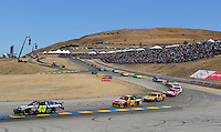 Jun. 21, 2009; Sonoma, CA, USA; NASCAR Sprint Cup Series driver Jimmie Johnson (48) leads Jeff Gordon (24) during the SaveMart 350 at Infineon Raceway. Mandatory Credit: Mark J. Rebilas-