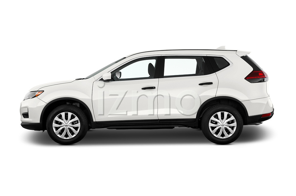 Car Driver side profile view of a 2017 Nissan Rogue S 5 Door SUV Side View