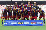 Football -Barcelona's team group during Barcelona vs Hercules match at Camp Nou stadium in Barcelona, September 11, 2010.