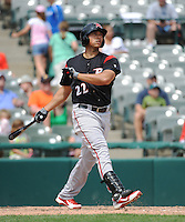 Richmond Flying Squirrels infielder Ricky Oropesa (22) hits a home  run during game against the Trenton Thunder at ARM & HAMMER Park on June 9 2013 in Trenton, NJ.  Trenton defeated Richmond 3-2.  Tomasso DeRosa/Four Seam Images