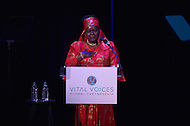 Washington, DC - June 17, 2014: Dr. Victoria Kisyombe, a Tanzanian entrepreneur, addresses the audience at the Vital Voices Global Leadership Awards at the John F. Kennedy Center in the District of Columbia, June 17, 2014. Dr. Kisyombe received the Economic Empowerment Award for her work in redesigning the traditional model of micro-financing to help Tanzanian women gain business opportunities. (Photo by Don Baxter/Media Images International)