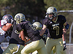Palos Verdes, CA 09/16/16 - Aidan Kuykendall (Peninsula #7) and Marcello Merola (Peninsula #8) in action during the Torrance - Palos Verdes Peninsula CIF Varsity football game.