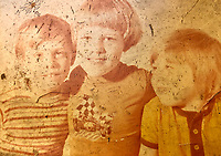 Pictured L-R: Brothers Paul, James and Christopher Gadd when they were younger. <br /> Re: 21 year old Timothy Higgins has been charged with manslaughter after a shopper died following an alleged dispute in a Sainsbury's supermarket car park in Pontllanfraith, Wales, UK.<br /> Christopher Gadd, 48, died after he was hit by a Land Rover in the Caerphilly county store car park on Monday.<br /> The driver of the vehicle was arrested and remanded in custody and will appear before Newport Magistrates.<br /> Paramedics and an air ambulance attended the scene where Mr Gadd, a farmer and born profoundly deaf, was pronounced dead.