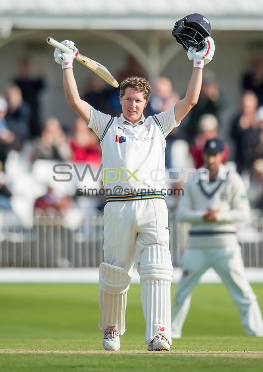 Picture by Allan McKenzie/SWpix.com - 03/07/2016 - Cricket - Specsavers County Championship - Yorkshire County Cricket Club v Middlesex County Cricket Club - North Marine Road, Scarborough, England - Yorkshire's Gary Ballance celebrates his century against Middlesex.
