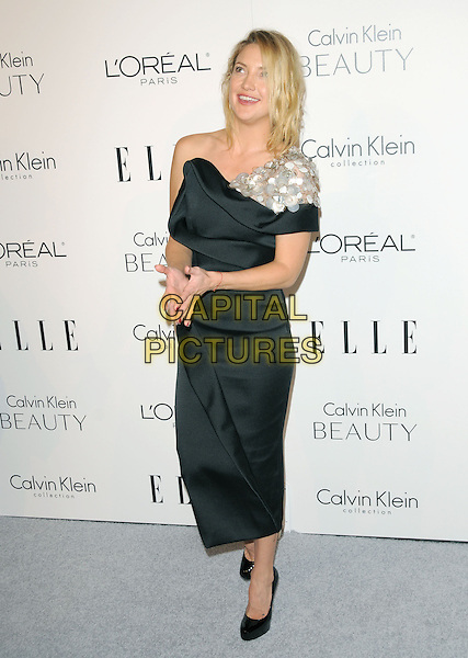 KATE HUDSON .walks the carpet as Elle Honors Hollywood's Most Esteemed Women in the 17th Annual Women in Hollywood Tribute held at The Four Seasons Beverly Hills in Beverly Hills, California, USA, October 18th 2010..full length mid shoes platform patent  black silver paillettes one shoulder dress .CAP/RKE/DVS.©DVS/RockinExposures/Capital Pictures.