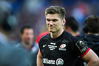 Owen Farrell of Saracens is all smiles after the match. European Rugby Champions Cup Final, between Saracens and Racing 92 on May 14, 2016 at the Grand Stade de Lyon in Lyon, France. Photo by: Patrick Khachfe / Onside Images