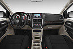 Stock photo of straight dashboard view of 2018 Dodge Grand-Caravan SE 5 Door Minivan Dashboard