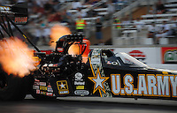 Mar. 30, 2012; Las Vegas, NV, USA: NHRA top fuel dragster driver Tony Schumacher during qualifying for the Summitracing.com Nationals at The Strip in Las Vegas. Mandatory Credit: Mark J. Rebilas-US PRESSWIRE