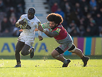 Wasps' Christian Wade evades the tackle of Harlequins' Mathew Luamanu<br /> <br /> Photographer Bob Bradford/CameraSport<br /> <br /> Aviva Premiership Round 14 - Harlequins v Wasps - Sunday 11th February 2018 - Twickenham Stoop - London<br /> <br /> World Copyright &copy; 2018 CameraSport. All rights reserved. 43 Linden Ave. Countesthorpe. Leicester. England. LE8 5PG - Tel: +44 (0) 116 277 4147 - admin@camerasport.com - www.camerasport.com