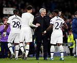Tottenham's Jose Mourinho celebrates at the final whistle during the UEFA Champions League match at the Tottenham Hotspur Stadium, London. Picture date: 26th November 2019. Picture credit should read: David Klein/Sportimage