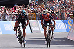 Vincenzo Nibali (ITA) Bahrain-Merida and Mikel Landa (ESP) Team Sky sprint for the finish line of Stage 16 of the 100th edition of the Giro d'Italia 2017, running 222km from Rovetta to Bormio, Italy. 23rd May 2017.<br /> Picture: LaPresse/Gian Mattia D'Alberto | Cyclefile<br /> <br /> <br /> All photos usage must carry mandatory copyright credit (&copy; Cyclefile | LaPresse/Gian Mattia D'Alberto)