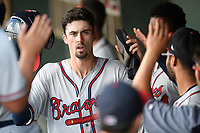 Shortstop Braden Shewmake (39) of the Rome Braves, an Atlanta Braves' First-Round pick in the 2019 MLB Draft, is greeted in the dugout after scoring a run in a game against the Greenville Drive on Sunday, June 30, 2019, at Fluor Field at the West End in Greenville, South Carolina. Rome won, 6-3. (Tom Priddy/Four Seam Images)