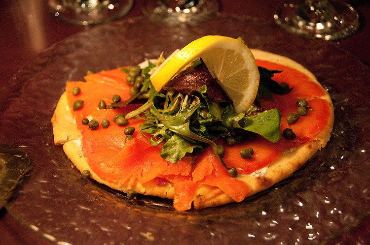 Smoked salmon at dinner.  Oregon Caberet Theatre in Ashland Oregon. Photo copyright Lee Foster. Photo # oregon-ashland-oregon105686