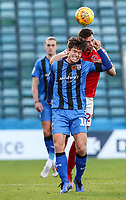 Fleetwood Town's Nathan Sheron competing with Gillingham's Billy Bingham<br /> <br /> Photographer Andrew Kearns/CameraSport<br /> <br /> The EFL Sky Bet League One - Gillingham v Fleetwood Town - Saturday 3rd November 2018 - Priestfield Stadium - Gillingham<br /> <br /> World Copyright © 2018 CameraSport. All rights reserved. 43 Linden Ave. Countesthorpe. Leicester. England. LE8 5PG - Tel: +44 (0) 116 277 4147 - admin@camerasport.com - www.camerasport.com