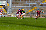Kerry's John Griffin and Derek McNicholas and Robbie Greville of Westmeath in the Allianz Hurling League Division 2A Final, Westmeath v Kerry. Gaelic Grounds, Limerick, Saturday 4th April 2015.