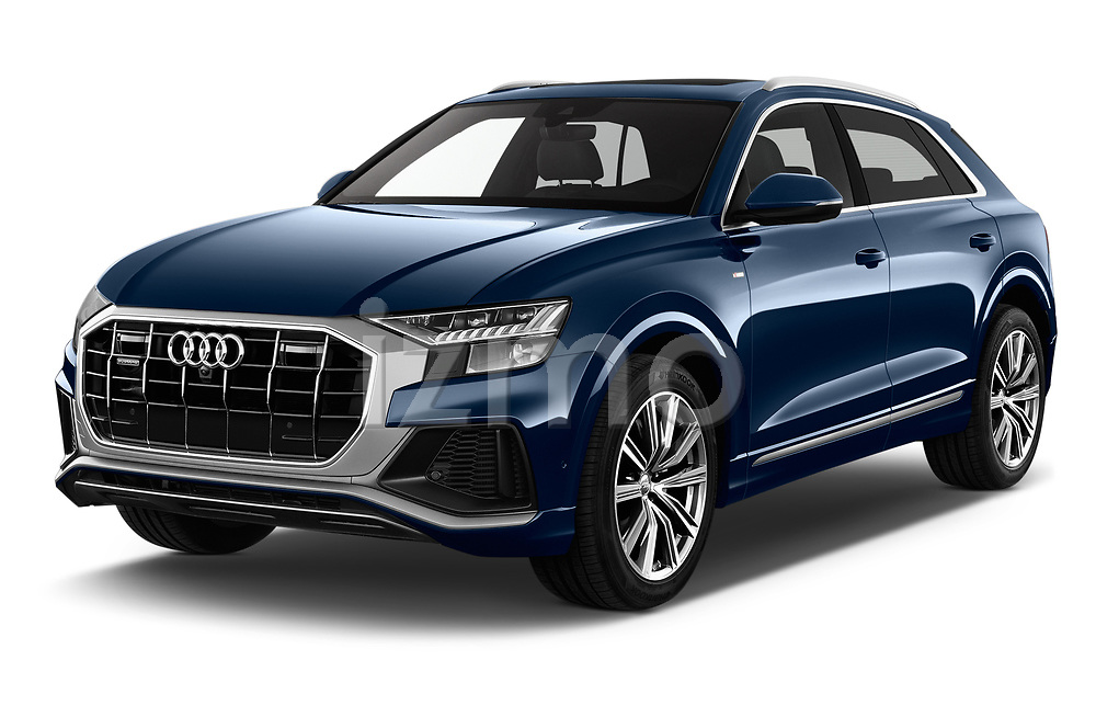 2019 Audi Q8 S Line 5 Door SUV angular front stock photos of front three quarter view