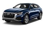 2019 Audi Q8 S Line 5 Door SUV angular front stock photos of front three quarter view